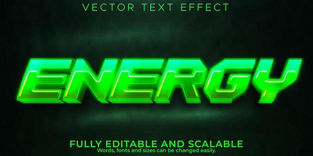 Efeito de texto de néon de energia, lazer editável e estilo de texto de jogo