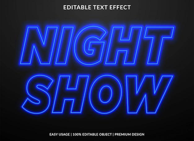 Efeito de texto de néon de show noturno