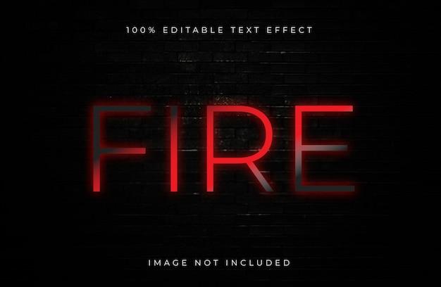 Efeito de texto de néon editável de fogo