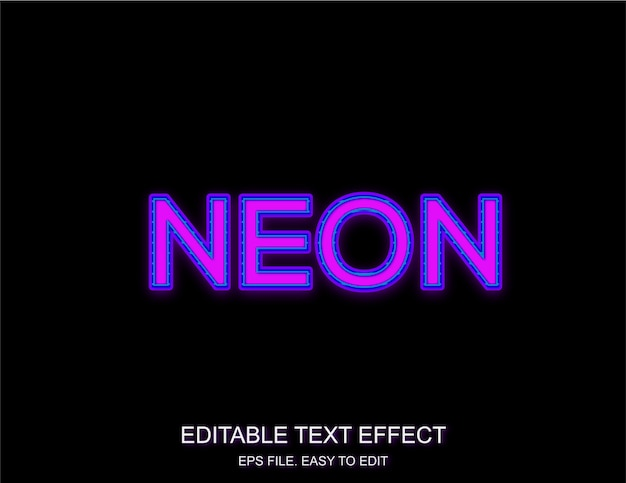 Efeito de texto de néon roxo