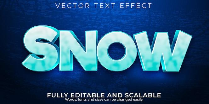 Efeito de texto de neve, estilo de texto editável congelado e frio