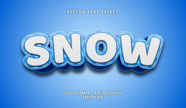 Efeito de texto de neve, estilo de texto editável