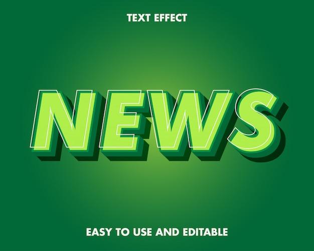 Efeito de texto de notícias. efeito de texto editável e fácil de usar. ilustração vetorial premium