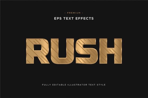 Efeito de texto de ouro luxuoso rush