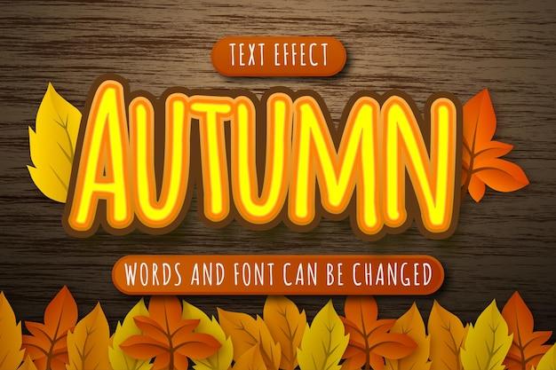 Efeito de texto de outono com ilustração de folhas isoladas em fundo de madeira editável eps cc