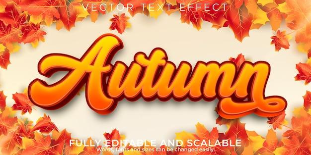 Efeito de texto de outono, estação editável e estilo de texto em folha