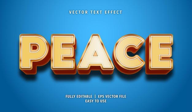 Efeito de texto de paz, estilo de texto editável