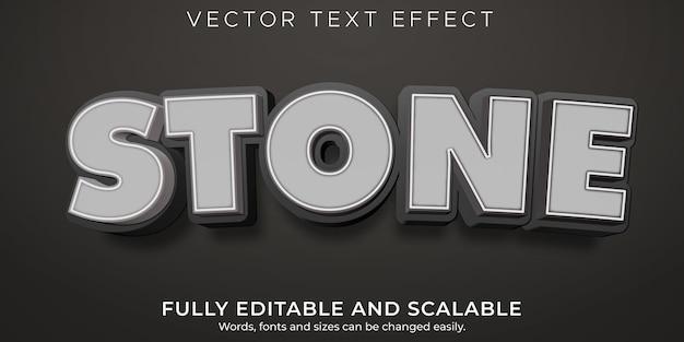 Efeito de texto de pedra, rocha editável e estilo de texto de desenho animado