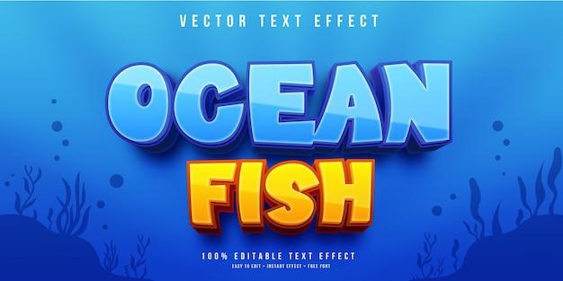 Efeito de texto de peixe do oceano