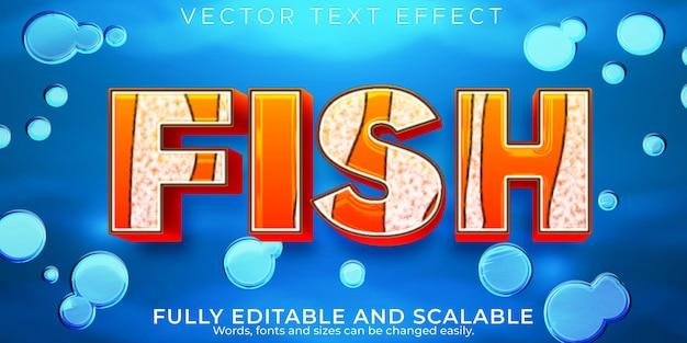 Efeito de texto de peixe, estilo de texto editável do mar e do aquário