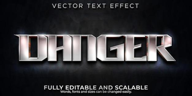 Efeito de texto de perigo, estilo de texto editável metálico e brilhante