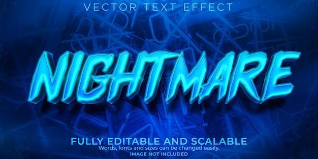 Efeito de texto de pesadelo, estilo de texto editável cyberpunk e neon