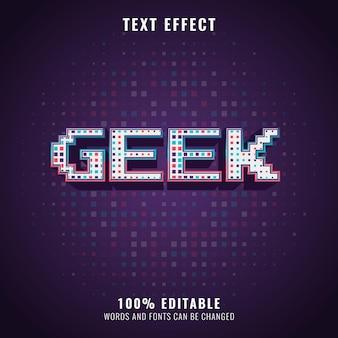 Efeito de texto de pixel retro colorido de meio-tom geek