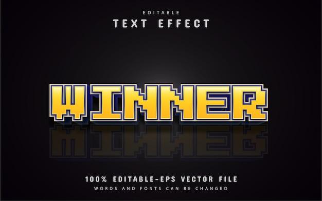 Efeito de texto de pixel vencedor amarelo