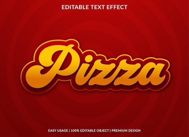 Efeito de texto de pizza com estilo vintage