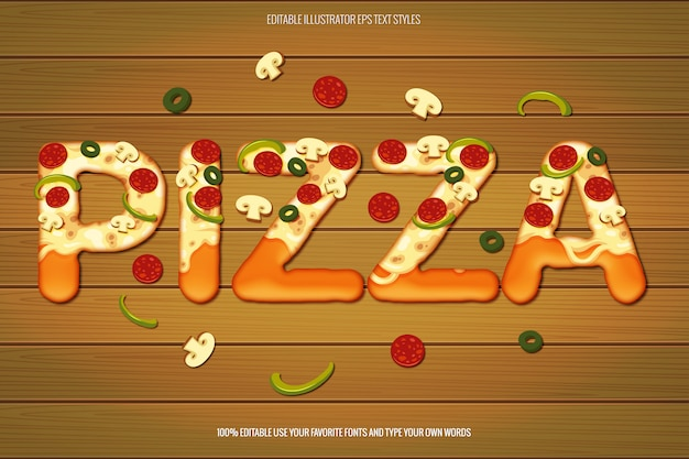 Efeito de texto de pizza, efeito de texto de pizza