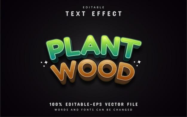 Efeito de texto de planta e madeira
