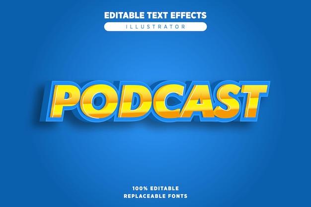 Efeito de texto de podcast editável