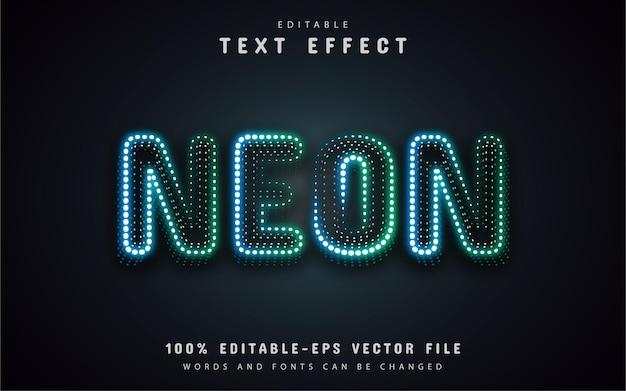 Efeito de texto de pontos de néon verde azulado