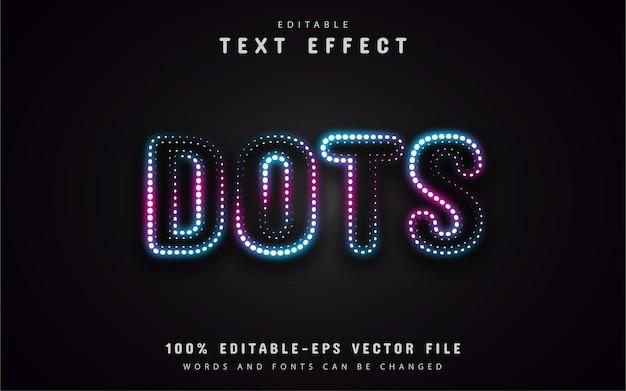 Efeito de texto de pontos de néon