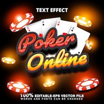Efeito de texto de pôquer online com fichas de cassino e cartão de pôquer
