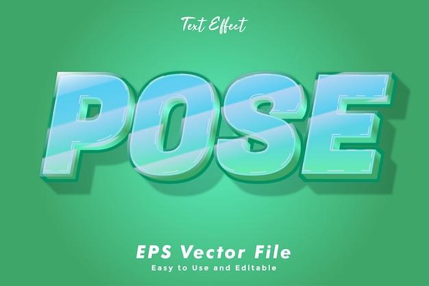 Efeito de texto de pose. editável e fácil de usar. efeito de tipografia