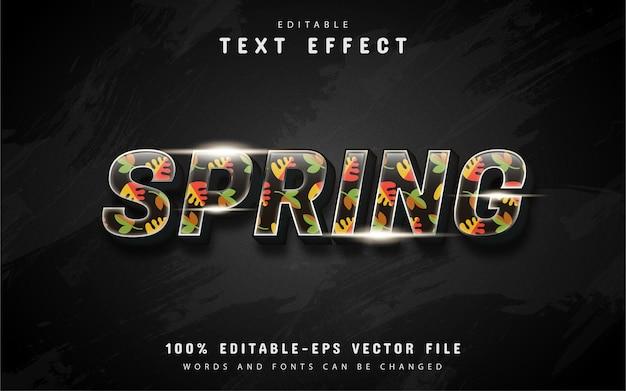 Efeito de texto de primavera 3d com padrão