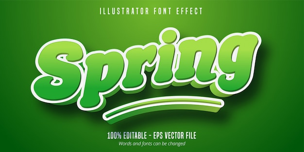 Efeito de texto de primavera, estilo de fonte editável verde