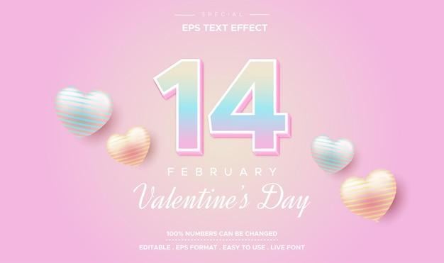 Efeito de texto de quatorze de fevereiro, dia dos namorados