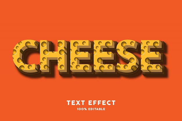 Efeito de texto de queijo 3d, texto editável