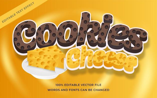 Efeito de texto de queijo de cookies editável para ilustrador