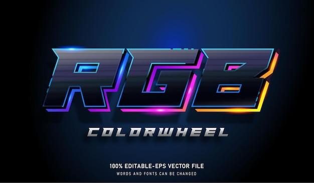 Efeito de texto de roda de cores rgb e fonte editável, bom para jogos