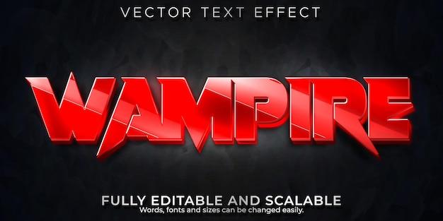 Efeito de texto de sangue de vampiro, estilo de texto editável em vermelho e terror