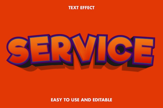 Efeito de texto de serviço 3d. fácil de usar e editável.