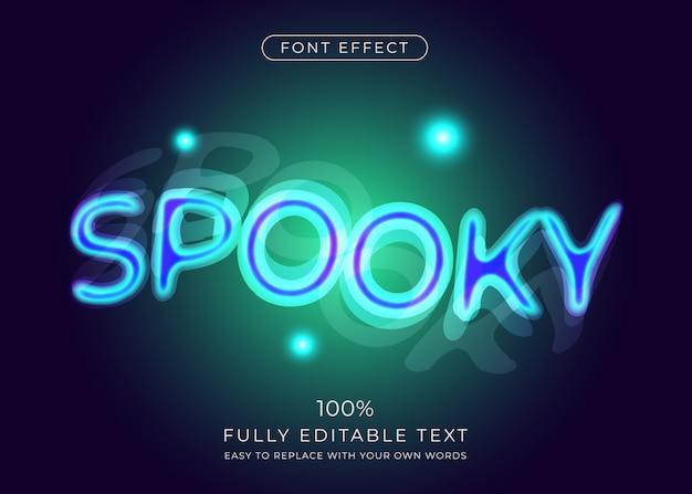 Efeito de texto de sobreposição assustador. estilo de fonte editável