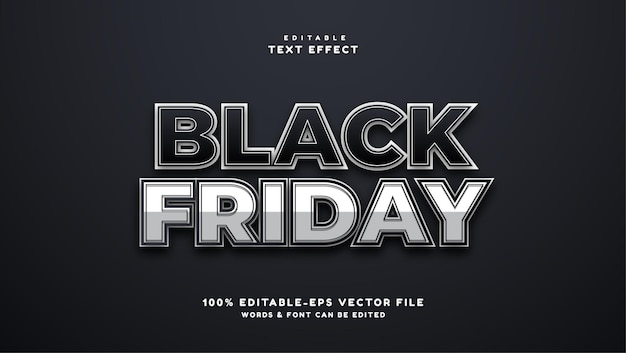 Efeito de texto de sombra 3d black friday efeito de texto editável