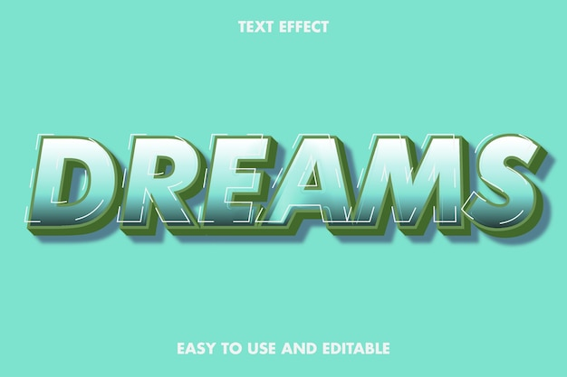 Efeito de texto de sonhos. estilo de fonte editável.