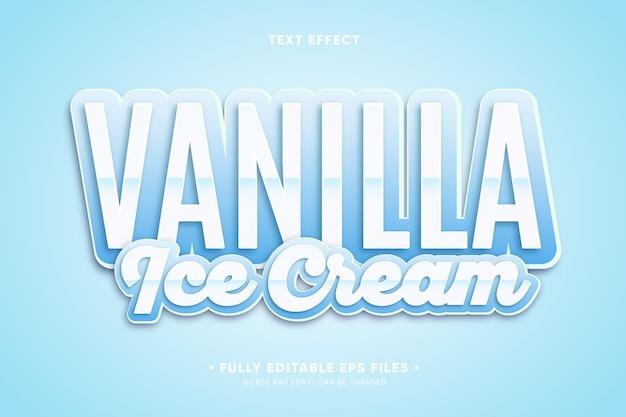 Efeito de texto de sorvete de baunilha