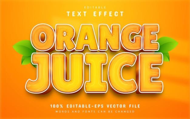 Efeito de texto de suco de laranja editável
