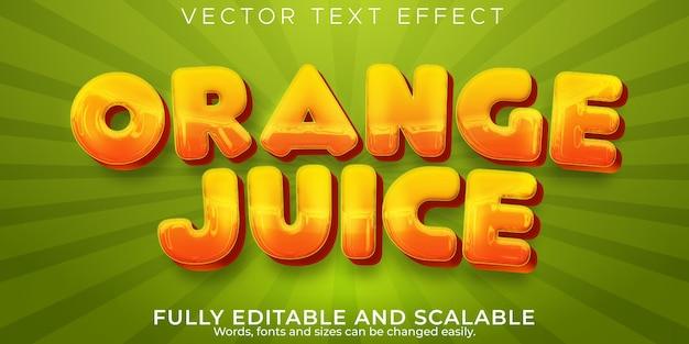 Efeito de texto de suco de laranja, frutas editáveis e estilo de texto tropical