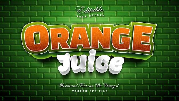 Efeito de texto de suco de laranja