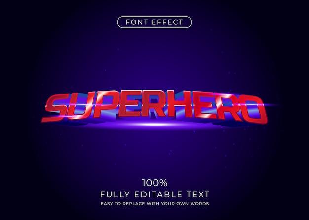 Efeito de texto de super-herói, estilo de fonte 3d