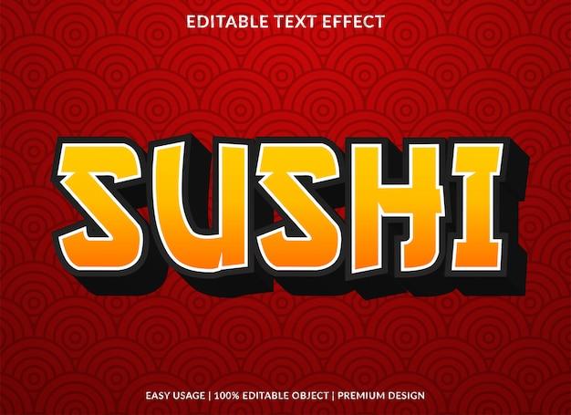 Efeito de texto de sushi Vetor Premium