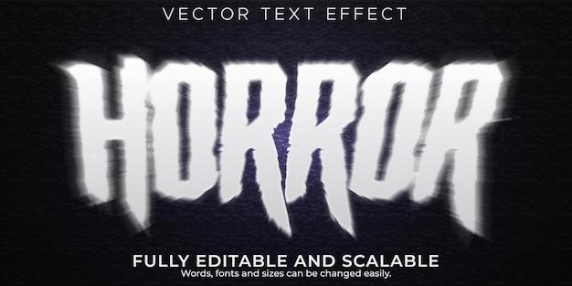 Efeito de texto de terror, estilo de texto assustador e monstro editável
