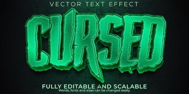 Efeito de texto de terror, noite editável e estilo de texto assustador