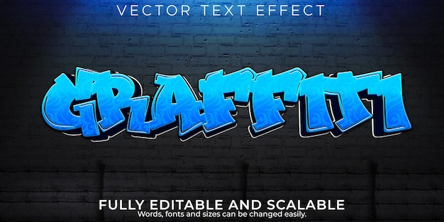 Efeito de texto de tinta graffiti, estilo de texto editável urbano e spray
