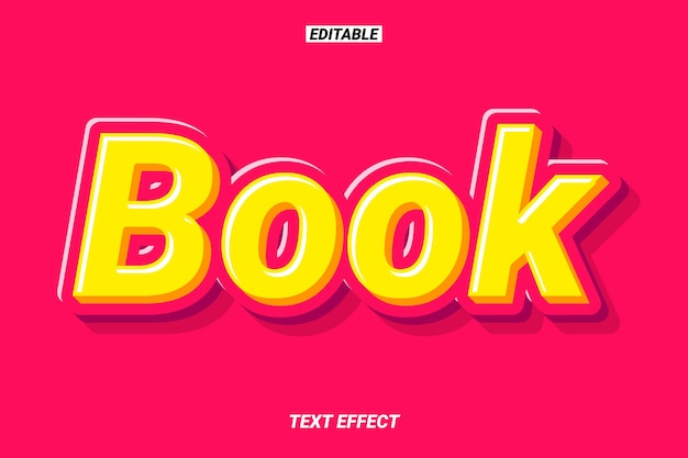 Efeito de texto de título de livro 3d moderno