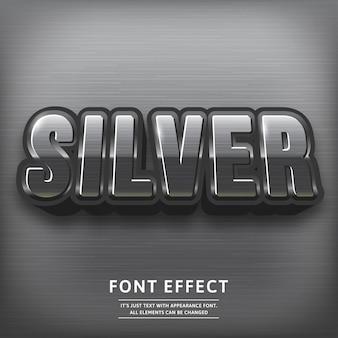 Efeito de texto de título prata 3d brilhante. fonte de tipografia.