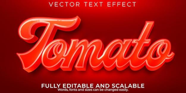 Efeito de texto de tomate fresco, estilo de texto editável natural e vegetal