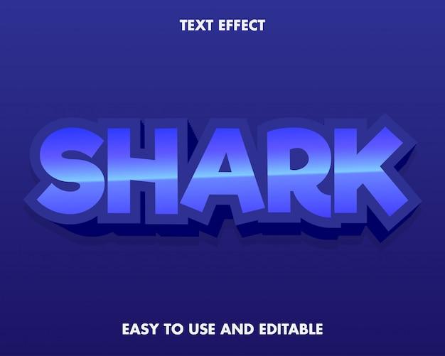 Efeito de texto de tubarão azul fácil de usar e editável.